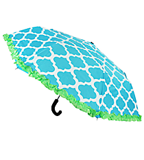 "38"" Turquoise and White Geometric Print with Lime Trim Umbrella #UMB-TQLM"