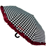 "38"" Houndstooth with Crimson Trim Umbrella #UMB-HT"