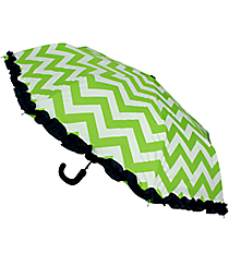 "38"" Lime and White Chevron with Navy Trim Umbrella #UMB-LMNV"