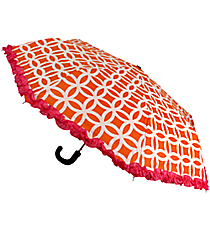 "38"" Orange and White Interlocking Circles with Pink Trim Umbrella #UMB-ORPK"