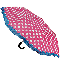 "38"" Pink and White Polka Dots with Turquoise Trim Umbrella #UMB-PKTQ"