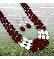 "17"" Burgundy and White Beaded Multi-Strand Necklace and Earring Set #NE15756-BUR/WHT"