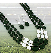 """17"""" Green and White Beaded Multi-Strand Necklace and Earring Set #NE15756-GRN/WHT"""