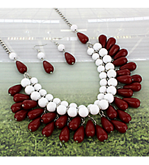 "17"" Burgundy and White Beaded Bib Necklace and Earring Set #UNE15781-BUR/WHT"