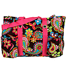 Whimsical Wonderland with Hot Pink Trim Utility Tote #KPQ585-H/PINK