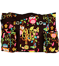 Owl Give a Hoot with Brown Trim Utility Tote #WQL585-BROWN