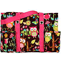 Owl Give a Hoot with Hot Pink Trim Utility Tote #WQL585-HPINK