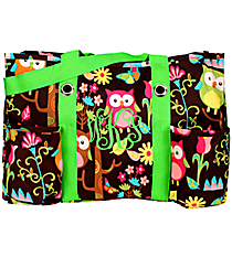 Owl Give a Hoot with Lime Trim Utility Tote #WQL585-LIME