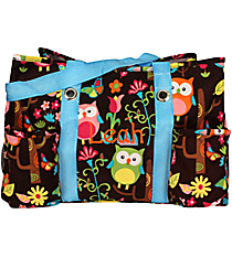 Owl Give a Hoot with Turquoise Trim Utility Tote #WQL585-TURQ