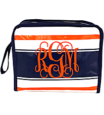 Navy, White, and Orange Varsity Head Shot Cosmetic Bag #VA-HS-035621