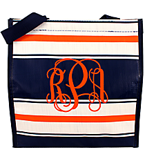 Navy, White, and Orange Varsity Power Lunch Tote #VA-PL-035607