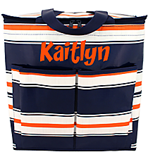 Navy, White, and Orange Varsity Tailgate Tote #VA-TL-000407
