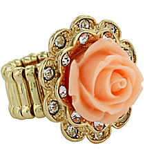 Vintage Peach and Goldtone Rose Ring #YJR680-GDPE