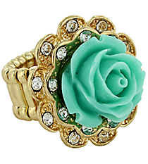Vintage Mint Green and Goldtone Rose Ring #YJR680-GDMN