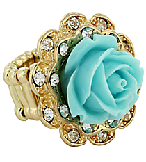 Vintage Turquoise and Goldtone Rose Ring #YJR680-GDTQ
