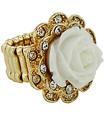 Vintage White and Goldtone Rose Ring #YJR680-GDWT