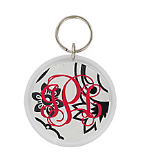 Black and White Floral Paisley Round Acrylic Key Tag #991