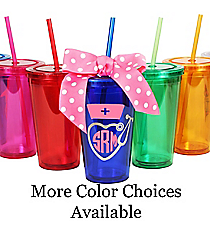 Nurse Monogram 16 oz. Double Wall Tumbler with Straw #WA334004 *Choose Your Colors