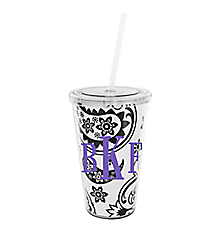 Black and White Floral Paisley 16 oz. Double Wall Tumbler with Straw #WA334056-CL
