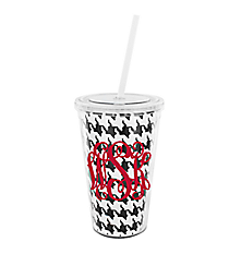 Houndstooth 16 oz. Double Wall Tumbler with Straw #WA334056-CL