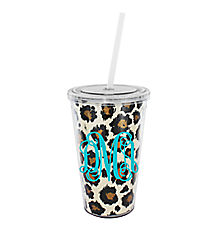 Leopard 16 oz. Double Wall Tumbler with Straw #WA334056-CL