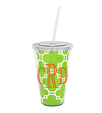 Lime Green Quatrefoil 16 oz. Double Wall Tumbler with Straw #WA334056-CL