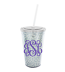 Metallic Silver Leopard 16 oz. Double Wall Tumbler with Straw #WA334056-CL