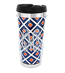 Navy and Orange Diamond Stainless Steel Travel Tumbler #579
