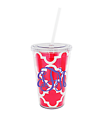Hot Pink Moroccan 16 oz. Double Wall Tumbler with Straw #WA334056-CL