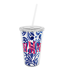 Royal Blue Floral Paisley 16 oz. Double Wall Tumbler with Straw #WA334056-CL