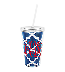 Royal Blue Moroccan 16 oz. Double Wall Tumbler with Straw #WA334056-CL