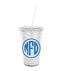 Silver Chevron 16 oz. Double Wall Tumbler with Straw #WA334056-CL