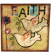"""16"""" x 16"""" Burlap """"Faith"""" Wall Art #BFEY1002"""