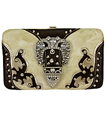 Beige and Brown Layered Leather Buckle Flat Wallet #FW2070PW21-BEIGE/CHAMP/BRO