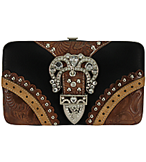 Black and Brown Tooled Leather Buckle Flat Wallet #FW2070PW48-BLK/TAN/BRO