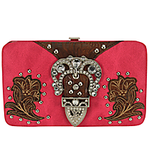 Western Hot Pink Buckle Flat Wallet #FW2070PW5-HP/LBRO/TAN/BRO
