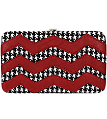 Houndstooth and Burgundy Chevron Flat Wallet #FW2070SVH-BUG