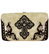 Beige and Brown Layered Leather Cross Flat Wallet #W2070W21LCR-BEIGE