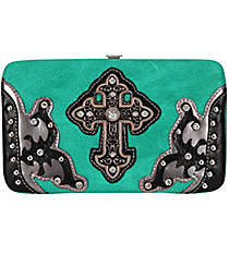Turquoise and Pewter Layered Leather Cross Flat Wallet #W2070W21LCR-TURQ