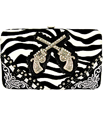 Flocked Zebra and Black Double Gun Flat Wallet #FW2070W2GFZ-BLK