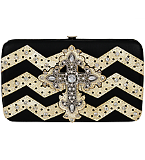 Black and Beige Chevron Cross Flat Wallet #FW2070WVLCR-BLK/WHT