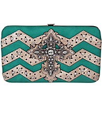 Turquoise and Beige Chevron Cross Flat Wallet #FW2070WVLCR-TURQ/WHT
