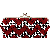 Twice as Nice Clutch Wallet in Houndstooth and Chevron #ZH333-BLACK