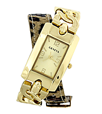 Leopard & Chains Wrap Around Watch #10465-LEOPARD