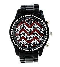 Houndstooth and Red Chevron Black Boyfriend Watch with Crystal Surround #11184ZZ-BLACK-HTH/CHEV