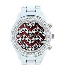 Houndstooth and Red Chevron White Boyfriend Watch with Crystal Surround #11184ZZ-WHITE-HTH/CHEV