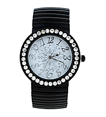Black Snowflake Stretch Band Watch with Crystal Surround #15070XMAS-BLK-SNOWFLAKE