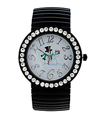 Black Snowman Stretch Band Watch with Crystal Surround #15070XMAS-BLK-SNOWMAN
