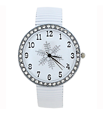 Snowflake Stretch Band Watch with Crystal Surround #6617XMAS-SNOWFLAKE