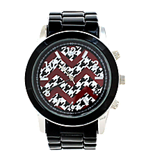 Red and Houndstooth Chevron Face Black Boyfriend Watch #6839ZZ-BLACK